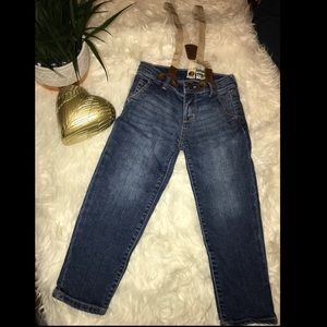 4T jeans with sparkle gold suspenders